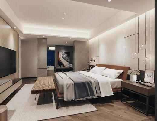 双人床, 床具组合, 吊灯, 装饰画, 电视柜