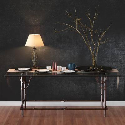 餐桌, 餐具, 装饰灯, 树枝, 花瓶, 现代, 后现代, 台灯