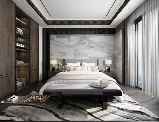 卧室, 新中式卧室, 床具组合, 床头柜, 台灯, 衣柜, 衣服, 新中式