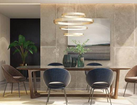 盆景, 吊灯, 餐桌, 桌椅组合, 装饰画
