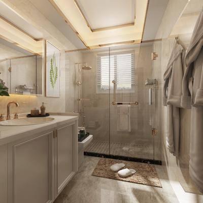卫生间, 洗手台, 装饰镜, 装饰画, 挂画, 服饰, 花洒, 现代