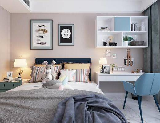 单人床, 桌椅组合, 书柜, 书籍, 装饰画, 床头柜, 台灯