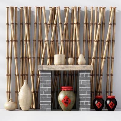 陶罐酒坛, 摆件组合, 中式