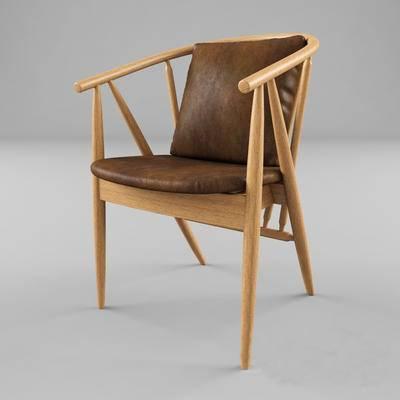 北欧简约, 棕色椅子, 北欧椅子, 单人椅