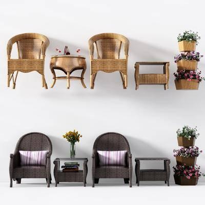 户外椅, 藤椅, 现代户外椅, 花架, 摆件组合, 现代