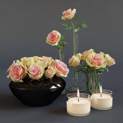 花瓶, 花盆, 花卉, 玫瑰花, 蜡烛台, 现代