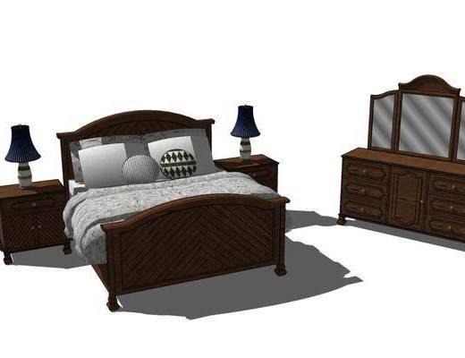 双人床, 床具组合, 边柜, 梳妆台