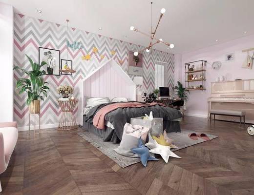 北欧卧室, 卧室, 儿童房, 双人床