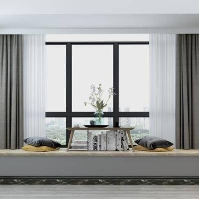 现代飘窗, 现代, 桌子, 装饰品, 花瓶, 抱枕, 窗帘