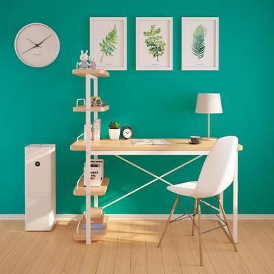 现代书桌椅, 现代, 书桌, 椅子, 装饰画