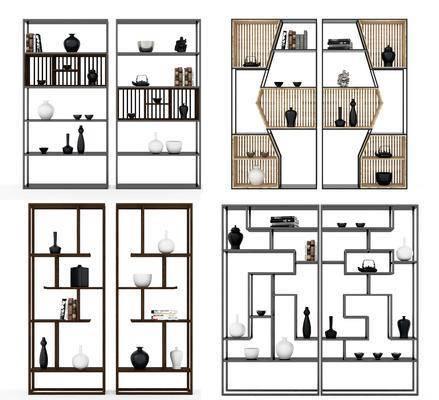 博古架, 陈设品, 古董, 摆件, 置物架, 置物柜, 新中式