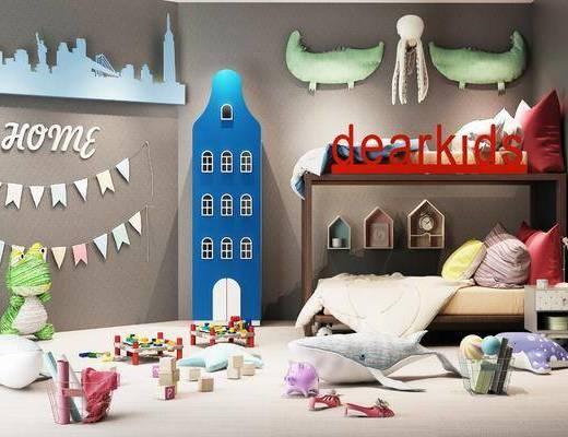 现代, 儿童房, 卧室
