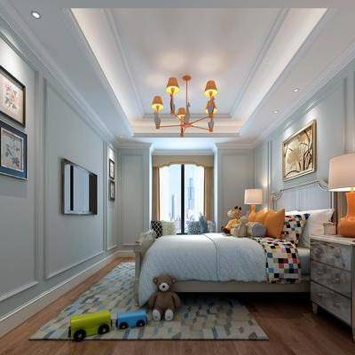 儿童房, 卧室, 床, 现代, 现代卧室, 床头柜, 台灯, 吊灯, 玩具