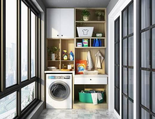 阳台, 浴柜, 洗衣机, 摆件组合