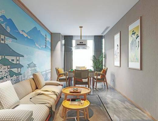 娱乐室, 麻将桌, 单椅, 沙发, 边几