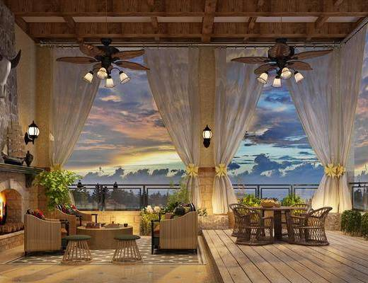 阳台花园, 花园庭院, 餐桌, 单人椅, 多人沙发, 茶几, 凳子, 单人沙发, 吊灯, 壁灯, 绿植植物, 美式