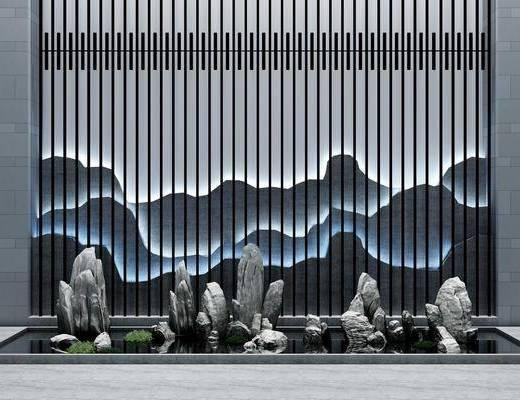 石头景观, 园艺小品, 背景墙, 新中式