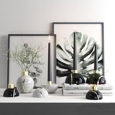 盆景, 装饰画, 书籍, 摆件, 花瓶