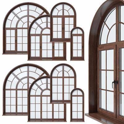 现代, 实木, 实木玻璃窗, 玻璃窗, 平开窗