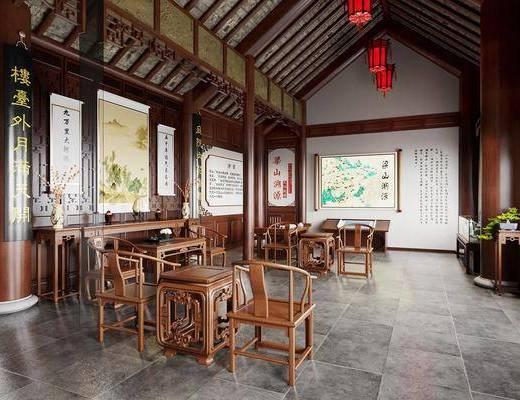 中式博物馆, 文化馆, 实木茶几, 实木桌子, 实木椅子