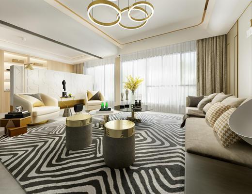 会客厅, 客厅, 沙发组合, 现代沙发, 茶几, 吊灯