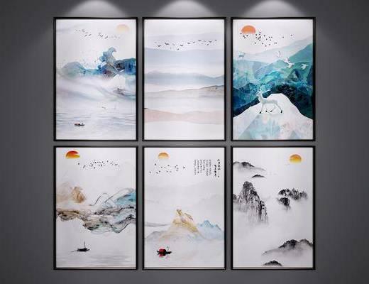 挂画, 新中式挂画, 装饰画, 风景画, 水墨画, 新中式