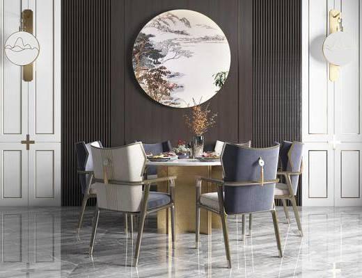 餐桌, 桌椅组合, 墙饰, 摆件, 花瓶