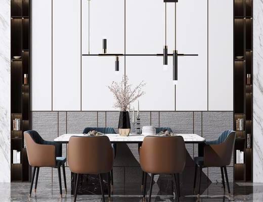 现代餐桌组合, 餐桌, 单椅, 吊灯