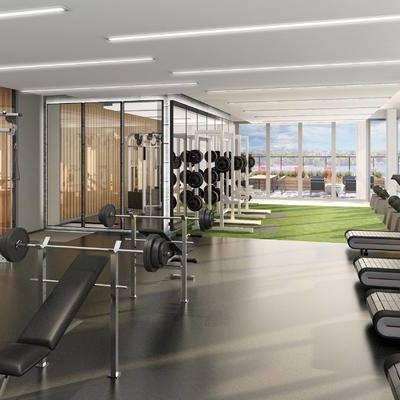 健身房, 健身器材, 跑步机, 健身室