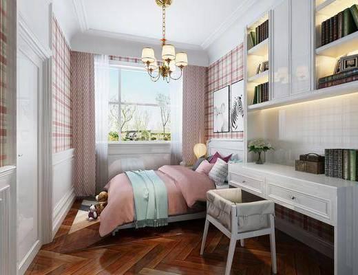 儿童房, 卧室, 书桌, 单人椅, 双人床, 吊灯, 装饰画, 挂画, 动物画, 书籍, 玩偶, 现代