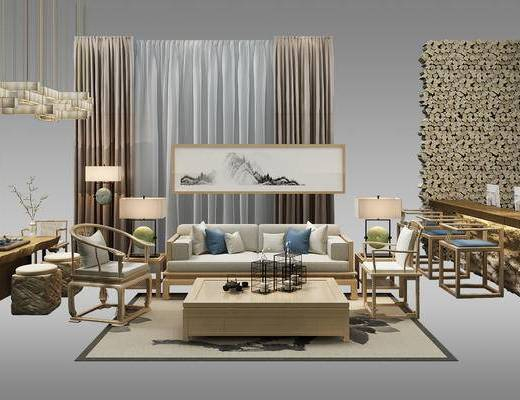 石头吧台, 吊灯, 沙发组合, 装饰画, 茶几, 吧椅, 茶桌