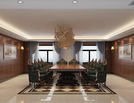 会议室, 会议桌, 单人沙发, 办公椅, 壁灯, 吊灯, 装饰画, 窗户窗帘, 简欧