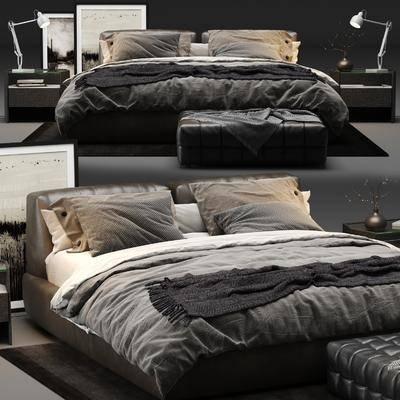 现代, 双人床, 床尾凳, 床头柜