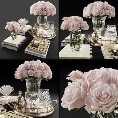 花束花瓶, 花瓶花卉, 摆件组合, 装饰品组合, 现代