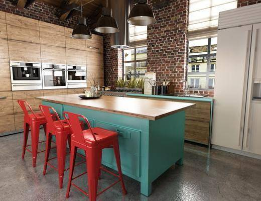 厨房, 橱柜, 吧台, 吧椅, 单人椅, 吊灯, 摆件, 装饰品, 陈设品, 北欧