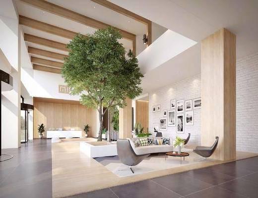 现代, 办公大堂, 桌椅组合, 绿植