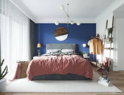 卧室, 双人床, 床头柜, 墙饰, 吊灯, 衣架, 服饰, 北欧