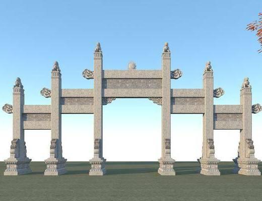 古建筑大门, 园林景观小品, 古建, 建筑