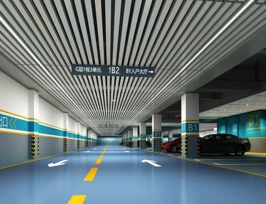 停车场, 汽车, 现代