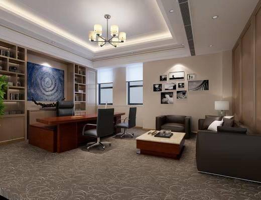 办公室, 办公桌, 办公椅, 单人椅, 吊灯, 多人沙发, 边几, 台灯, 单人沙发, 茶几, 组合画, 书柜, 书籍, 装饰品, 陈设品, 现代