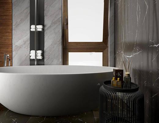 现代简约, 浴缸, 浴室, 组合