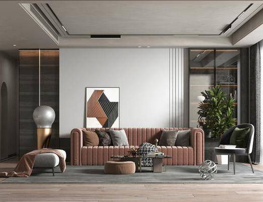 沙发组合, 茶几, 植物, 吊灯, 单椅