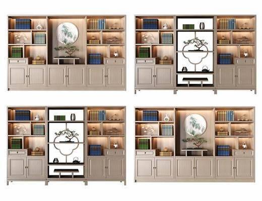 书柜, 新中式书柜, 摆件组合