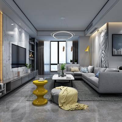 现代客餐厅, 现代, 客厅, 布艺沙发, 茶几, 装饰画, 吧台