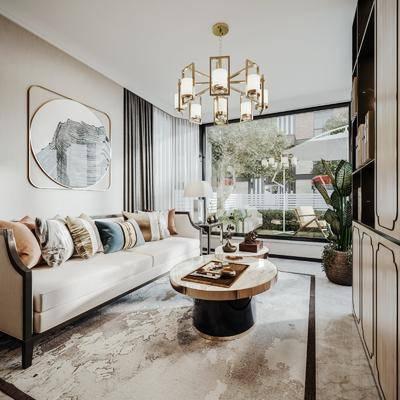 沙发组合, 茶几, 吊灯, 挂画, 摆件组合, 电视柜, 植物