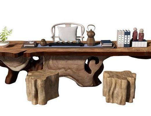 新中式, 茶桌椅, 组合