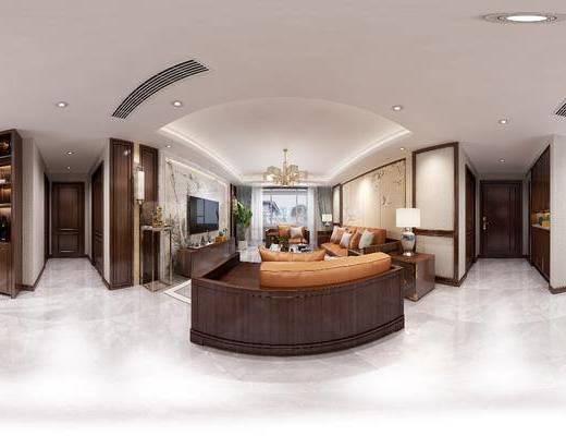客廳, 餐廳, 沙發組合, 沙發茶幾組合, 邊柜組合, 餐桌椅組合, 餐具組合, 家裝全景, 中式