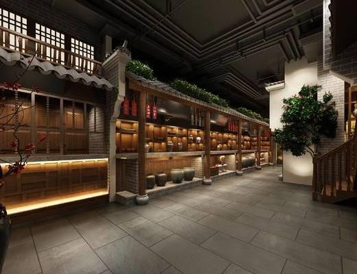餐厅, 餐饮, 工业风, 中式, 新中式, 美食城