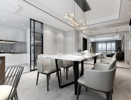现代客厅, 现代餐厅, 餐桌椅, 桌椅组合, 沙发组合, 沙发茶几组合