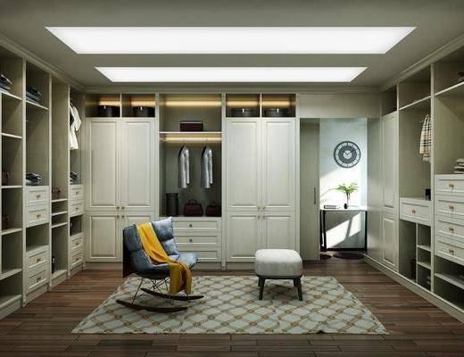 衣帽间, 衣柜, 装饰柜, 服饰, 单人沙发, 凳子, 现代